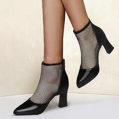 Femmes Mesh PU Talon bottier Escarpins Talons Bout pointu avec Ouvertes Couleur unie chaussures