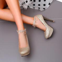 Femmes Pailletes scintillantes Talon stiletto Sandales Escarpins Bout fermé avec Pailletes scintillantes Chaîne Ouvertes chaussures