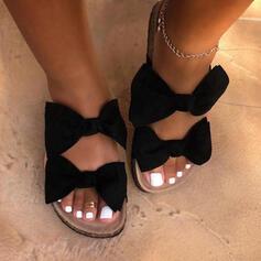 Femmes Suède Talon plat Sandales Chaussures plates À bout ouvert Chaussons avec Bowknot chaussures