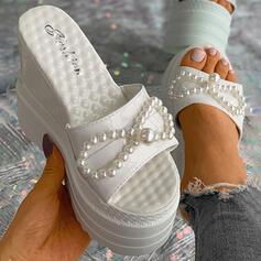 Femmes PU Talon compensé Sandales Plateforme Compensée À bout ouvert Chaussons Talons avec Perle d'imitation Couleur unie chaussures