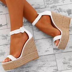 PU Wedge Heel Sandals Platform Wedges Peep Toe Heels With Buckle Braided Strap shoes