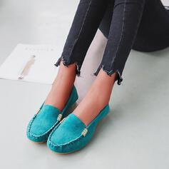 Femmes Tissu Talon plat Chaussures plates avec Brodé Couleur unie chaussures