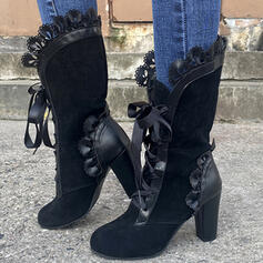 Women's PU Chunky Heel Boots Mid-Calf Boots With Ruched Lace-up shoes