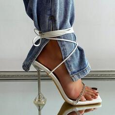 Femmes PU Talon kitten Sandales Escarpins À bout ouvert avec Couleur unie chaussures