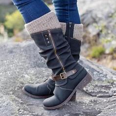 Femmes Similicuir Talon plat Bottes mi-mollets bout rond avec Zip Boutons chaussures