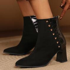 Femmes Suède PU Talon bottier Bottes mi-mollets Bout pointu avec Rivet Zip chaussures