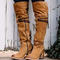Femmes Suède Talon bottier Bottes Bottes hautes Bout pointu avec Zip Autres Couleur unie chaussures