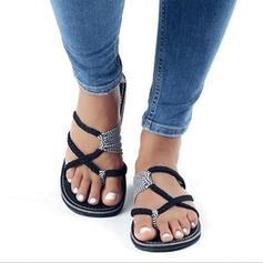 PU Talon plat Sandales Chaussures plates À bout ouvert Tongs avec Autres chaussures