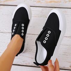 Femmes PU Talon plat Chaussures plates bout rond Espadrille Tennis avec Couleur unie chaussures