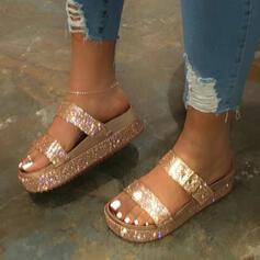 Femmes Similicuir Talon plat Sandales Chaussures plates À bout ouvert Chaussons avec Strass Paillette Boucle chaussures