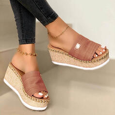 Women's Suede Wedge Heel Sandals Slippers With Others Braided Strap Solid Color shoes