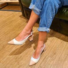 Femmes Similicuir Talon bottier Escarpins Bout pointu avec Boucle Couleur d'épissure chaussures