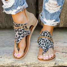 Femmes Similicuir Tissu Talon plat Sandales Chaussures plates À bout ouvert avec La copie Animale Zip chaussures