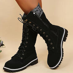 Women's PU Chunky Heel Boots Mid-Calf Boots Martin Boots Riding Boots Round Toe Combat Boots With Lace-up Solid Color shoes