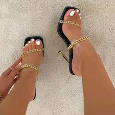 Femmes PU Talon stiletto Sandales Chaussures plates À bout ouvert Chaussons avec Pailletes scintillantes Dentelle Couleur d'épissure chaussures
