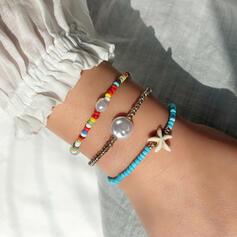 Attrayant Délicat Design en étoile de mer Ajustable Natural Stone De faux pearl Verre Femmes Fille de Bracelets 3 PIÈCES