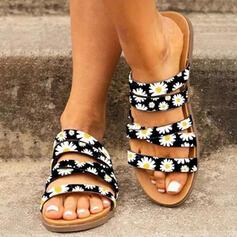 Femmes PU Talon plat Sandales Chaussures plates À bout ouvert Chaussons avec Ouvertes Imprimé fleur chaussures