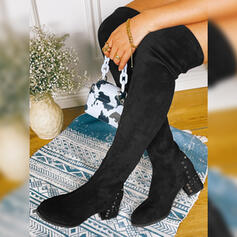 Women's Suede Chunky Heel Over The Knee Boots Round Toe With Solid Color shoes