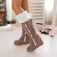 Femmes PU Talon compensé Bottes mi-mollets Bottes neige avec Dentelle chaussures