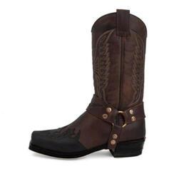Femmes Similicuir Talon bottier Bottes mi-mollets Bout carré avec Broderie chaussures