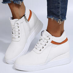 Women's PU Wedge Heel Ankle Boots With Lace-up Colorblock shoes