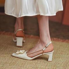 Femmes PU Talon bottier Sandales Escarpins Bout fermé Escarpins Talons Bout pointu avec Boucle Couleur unie chaussures