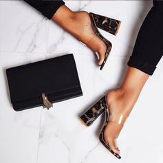 Femmes PVC Talon bottier Sandales Escarpins À bout ouvert bout rond avec La copie Animale chaussures