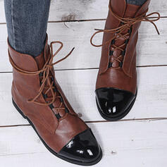 Women's PU Low Heel Boots Mid-Calf Boots Round Toe With Lace-up Splice Color shoes