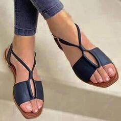 Femmes PU Talon plat Sandales Chaussures plates À bout ouvert Chaussons avec Ouvertes Bandage chaussures
