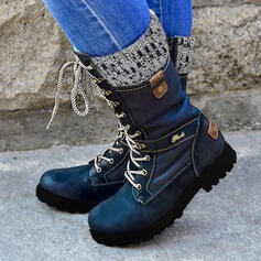 Femmes PU Talon bas Bottes mi-mollets Martin bottes bout rond avec Zip Dentelle Couleur d'épissure chaussures