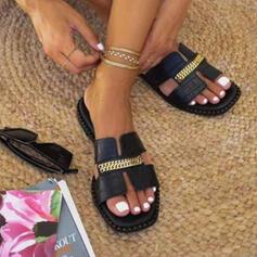 Femmes PU Talon plat Sandales Chaussures plates À bout ouvert Chaussons avec Chaîne Ouvertes chaussures