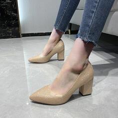Femmes Pailletes scintillantes Talon bottier Escarpins Low Top Bout pointu avec Paillette Couleur unie chaussures