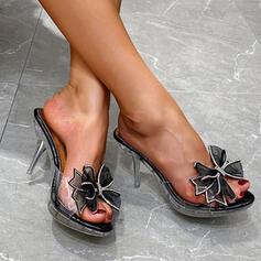Femmes PU Talon stiletto Sandales Escarpins À bout ouvert Chaussons avec Pailletes scintillantes chaussures
