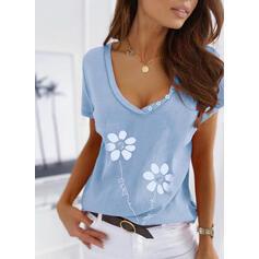 Fleurie Imprimé Letter Col V Manches Courtes T-shirts