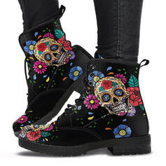 Women's PU Chunky Heel Ankle Boots Martin Boots Low Top Round Toe With Lace-up Flower shoes