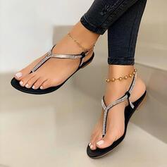 Femmes PU Talon plat Sandales Chaussures plates À bout ouvert Tongs avec Cristal chaussures