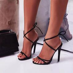 Femmes PU Talon stiletto Escarpins À bout ouvert Talons avec Dentelle Ouvertes chaussures