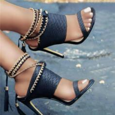 Women's PU Stiletto Heel Sandals Pumps Peep Toe Heels With Chain Hollow-out Tassel Solid Color shoes