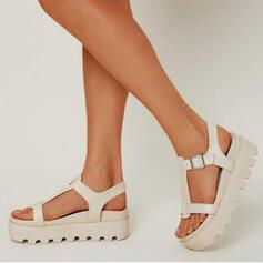 Femmes PU Talon bas Sandales Chaussures plates Plateforme À bout ouvert Chaussons avec Boucle Couleur unie chaussures