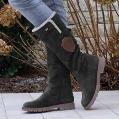 Femmes PU Talon plat Bottes mi-mollets Bottes neige bout rond Bottes d'hiver avec Zip Tassel chaussures