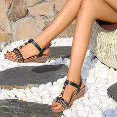 Femmes PU Talon compensé Sandales Compensée À bout ouvert Talons avec Boucle chaussures