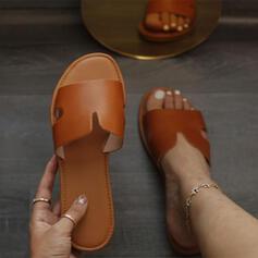 Femmes Similicuir Talon plat Sandales Chaussures plates À bout ouvert Chaussons avec Ouvertes Couleur unie chaussures