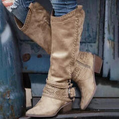 Women's PU Chunky Heel Knee High Boots With Buckle Zipper Hollow-out Solid Color shoes