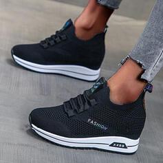 Femmes Tissu Espadrille Heel Chaussures plates bout rond avec Dentelle chaussures