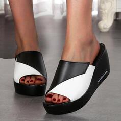 Femmes PU Talon compensé Sandales Plateforme Compensée À bout ouvert Chaussons avec Ouvertes Couleur d'épissure chaussures
