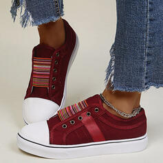 Femmes Toile Talon plat Chaussures plates Low Top bout rond Espadrille avec Élastique Couleur d'épissure chaussures