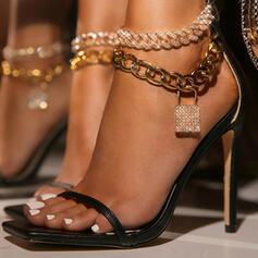 Femmes PU Talon stiletto Sandales Escarpins À bout ouvert Bout carré avec Chaîne Ouvertes chaussures