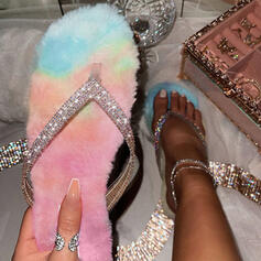 Women's Sparkling Glitter Flat Heel Sandals Flip-Flops Slippers With Rhinestone Sparkling Glitter Faux-Fur shoes