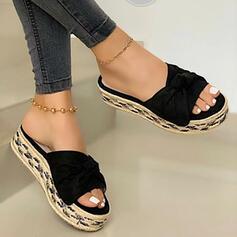 Femmes PU Talon plat Sandales Chaussures plates Plateforme À bout ouvert Chaussons avec Bowknot Couleur d'épissure chaussures