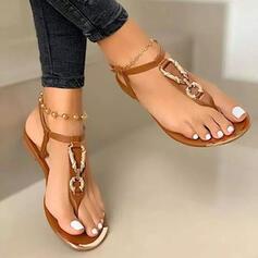 Femmes PU Talon plat Sandales Chaussures plates À bout ouvert avec Couleur unie chaussures